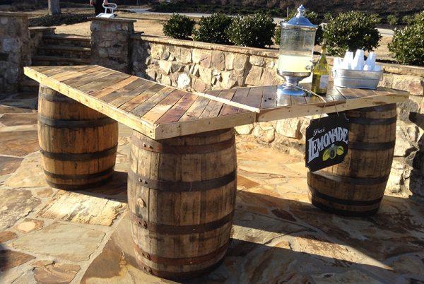 L Shaped Whiskey Barrel Table